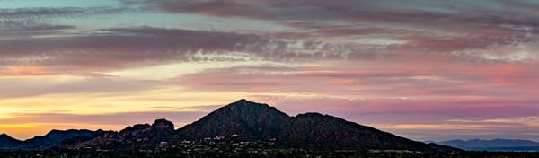 Phoenix Camelback Mountain Panorama colorful sunset