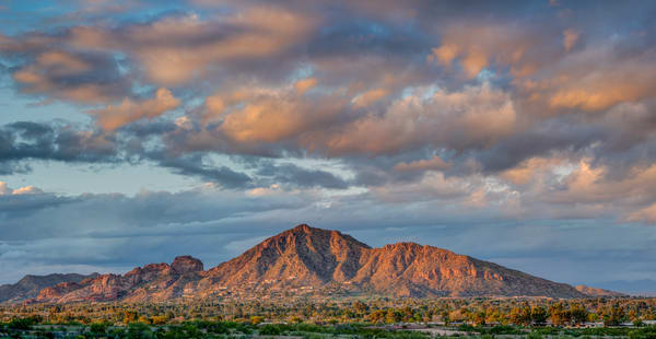 Sunset on Phoenix Camelback Mountain Panorama