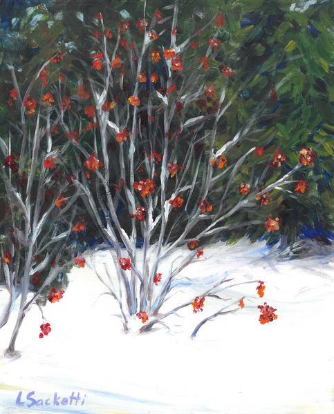 Rd Berries In The Snow Art | Linda Sacketti