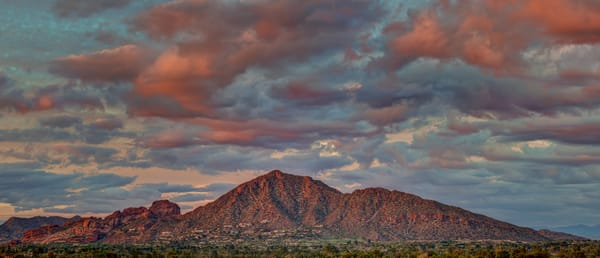 Phoenix Camelback Mountain Panoramic view pink and orange clouds