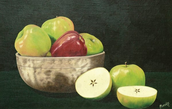 Apples And The Singing Bowl   Original Art | Mercedes Fine Art