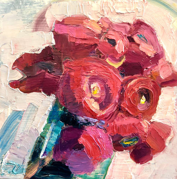 "Still life romantic floral ""Still Life with Pink and Red Ranunculus 2"" by Monique Sarkessian 6x6"" expressionist oil painting."