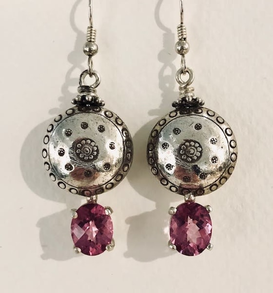 Silver Hollowform Earrings With Topaz Art | Art a la Carte Gallery