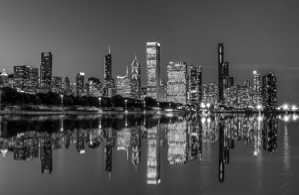 A beautiful reflection of Chicago Skyline on Lake Michigan