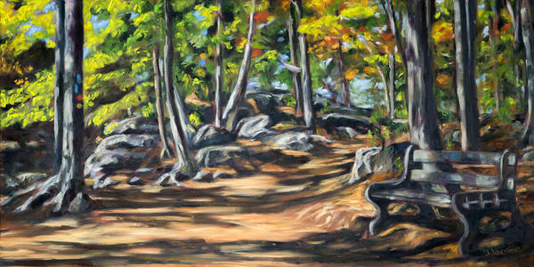Turning Point, fine art (gilcée) prints of original art by Janet Jardine featuring a trail at Rattlesnake Point Conservation Area in early autumn