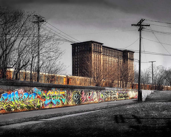 Michigan Central Station ~ Graffiti Spot Color Art | Picture Detroit