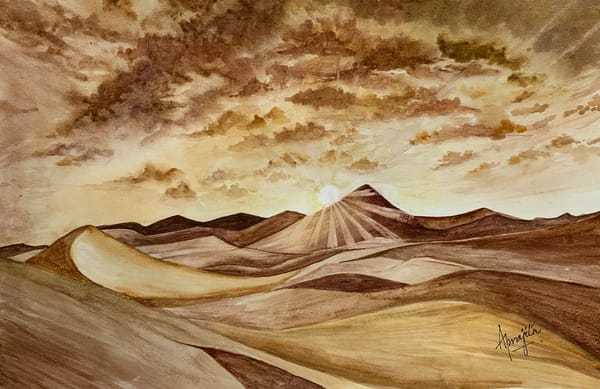 """Sand Dunes"" in watercolors by Aprajita Lal"