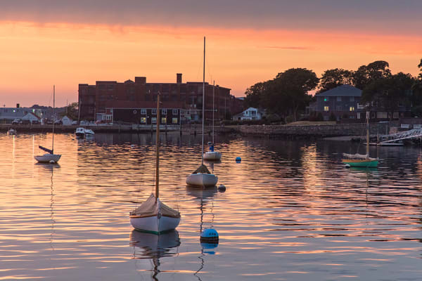 """Wally Park Summer Sunset"" - Bristol RI Herreshoff Sailboats Harbor Fine Art Art Photograph"