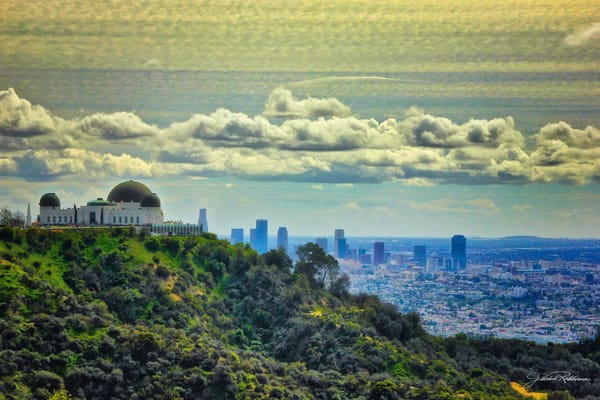 GriffithObservatory LA green sky day with a view of Los Angeles, downtown to the sea jackierobbinsstudio