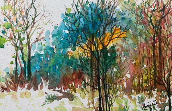 """Vivid Forest 1"" in Watercolors by Aprajita Lal (Original 5.5x7.5)"