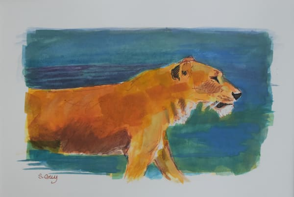 Lion Walk   Original Gouache Art | Sharon Guy