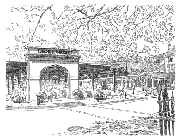 french market, french quarter, new orleans:  fine art prints in elegant pen available for purchase online