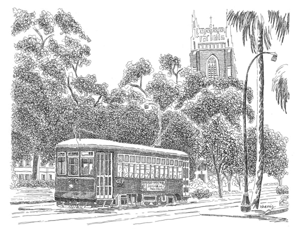 st. charles avenue streetcar, new orleans:  fine art prints in elegant pen available for purchase online