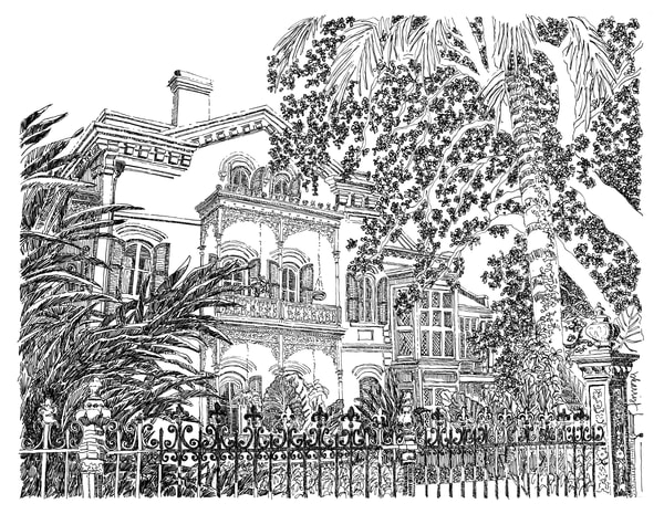carroll-crawford house, garden district, new orleans:  fine art prints in elegant pen available for purchase online