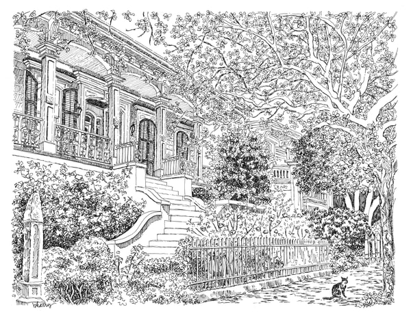 lower garden district, new orleans:  fine art prints in elegant pen available for purchase online
