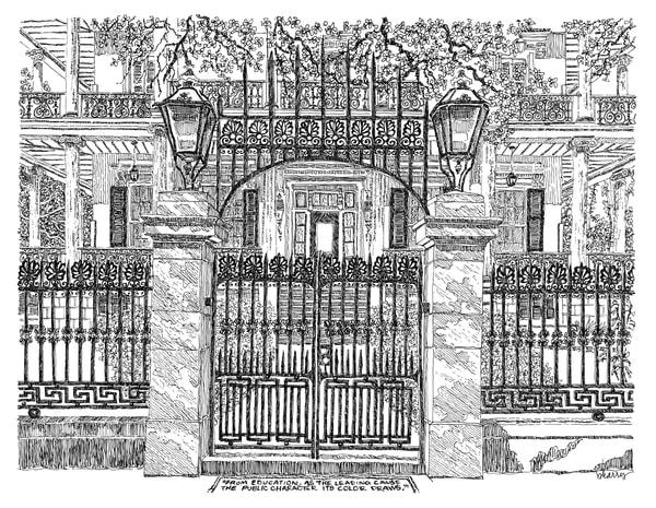 buckner mansion, garden district, new orleans:  fine art prints in elegant pen available for purchase online