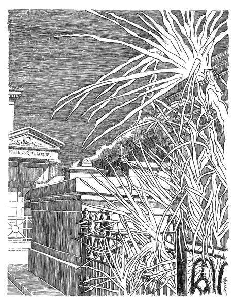 st. louis cemetery no.2, claiborne avenue, new orleans:  fine art prints in elegant pen for sale online