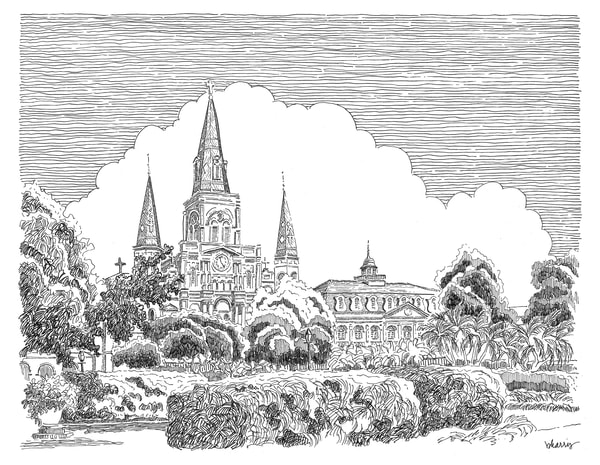 st. louis cathedral, new orleans:  fine art prints in elegant pen available for purchase online