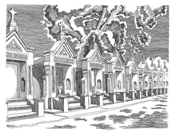 st. louis cemetery no.3, esplanade avenue, new orleans:  purchase online fine art prints in elegant pen