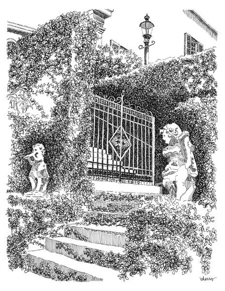 cherokee, natchez, mississippi:  fine art prints in elegant pen available for purchase online