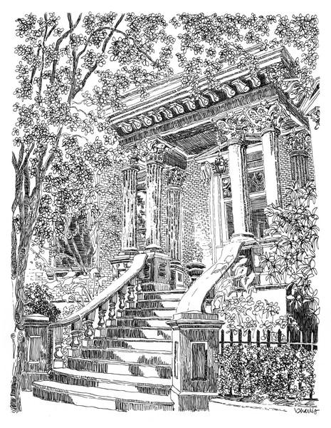 kehoe house, savannah, georgia:  fine art prints in elegant pen available for purchase online