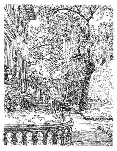 e. jones street, savannah, georgia:  fine art prints in elegant pen available for purchase online
