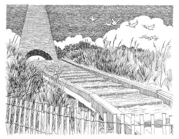 coleman beach pavilion, seaside (30a), florida:  fine art prints in elegant pen available for purchase online