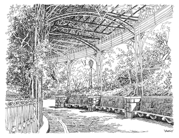 conservatory garden, new york city:  fine art prints in elegant pen available for purchase online
