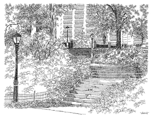 central park (stairs with streetlamp), new york city:  fine art prints in elegant pen available for purchase online