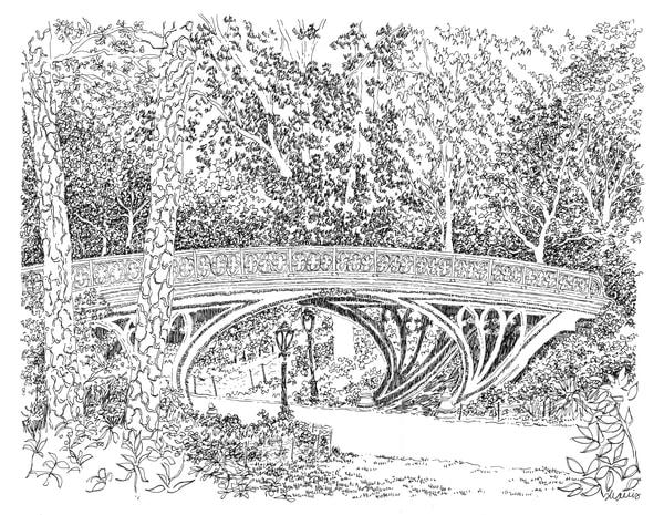central park (gothic bridge), new york city:  fine art prints in elegant pen available for purchase online