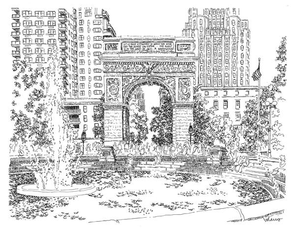 washington square park, new york city:  fine art prints in elegant pen available for purchase online