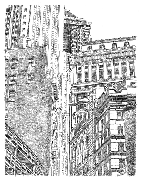 financial district (portico), new york city:  fine art prints in elegant pen available for purchase online.