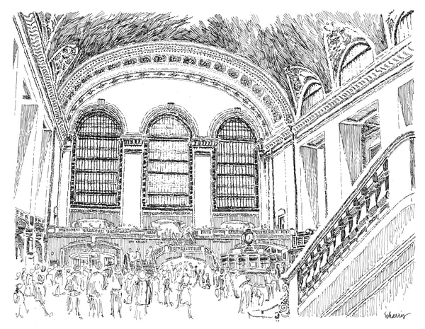 grand central station, new york city:  fine art prints in elegant pen available for purchase online