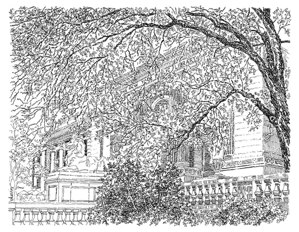public library, new york city:  fine art prints in elegant pen available for purchase online