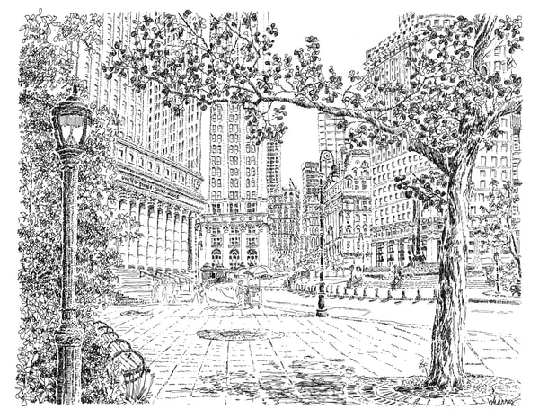 federal courthouse, new york city:  fine art prints in elegant pen for sale online