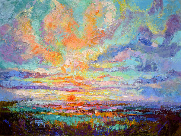 Oversize Large Sunset Painting, Blessed Eve by Dorothy Fagan