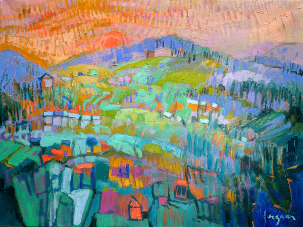 Large Colorful Abstract Landscape Painting by Dorothy Fagan