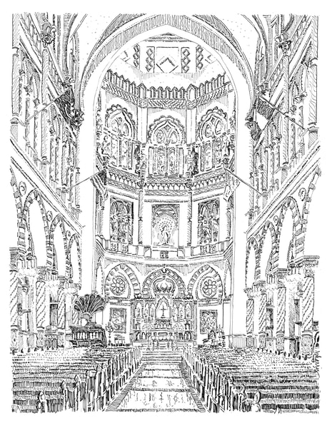 immaculate conception church, new orleans:  fine art prints in elegant pen available for purchase online