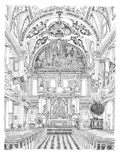 st. louis cathedral (magnificent interior), new orleans:  fine art prints in elegant pen available for purchase online
