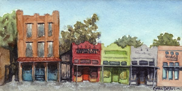 Main Street, Texas, Prints, Watercolor