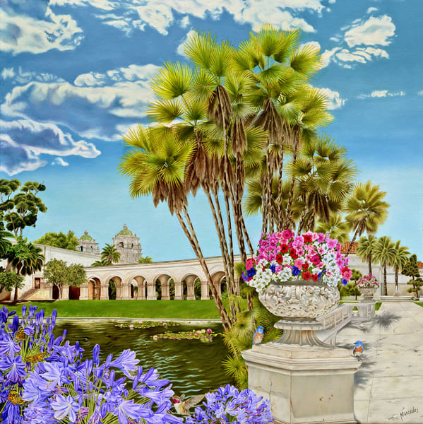 Balboa Park ~ Centennial Tribute   The Lily Pond And The Domes Of Casa Del Prado   Prints Art | Mercedes Fine Art