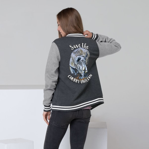 """Save The Chubby Unicorn"" Women's Letterman Jacket 
