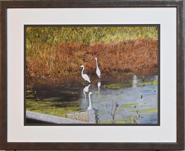 Greg Stett Art Pastels - Egrets