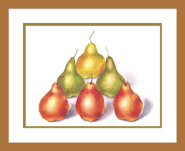 Pyramid Pears #2 is a watercolor with colored pencil mixed media artwork. Options include matting and framing.