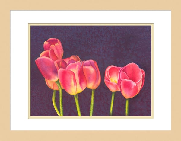 Red Tulips on Purple is a watercolor artwork. Options include matting and framing.