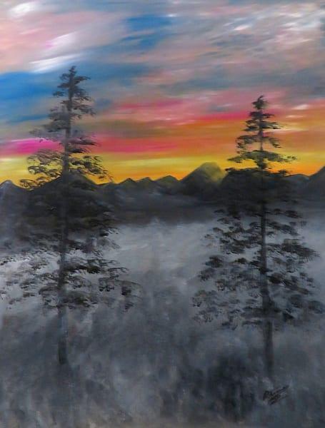 Foggy Sunrise In Pixio Art | Artist Ron Turner