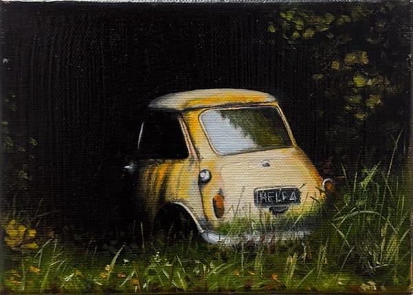 Matthew Peterson - original artwork - realism - nature - cars - Mini Cooper - Evergreen