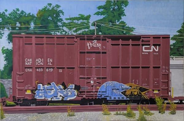 Matthew Peterson - original artwork - realism - train car - graffiti - Paper Wings