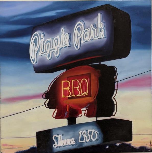 Matthew Peterson - original artwork - neon signs - realism - landmarks - Piggie Park After Dark