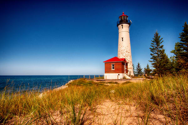crisp point lighthouse michigan shoreline